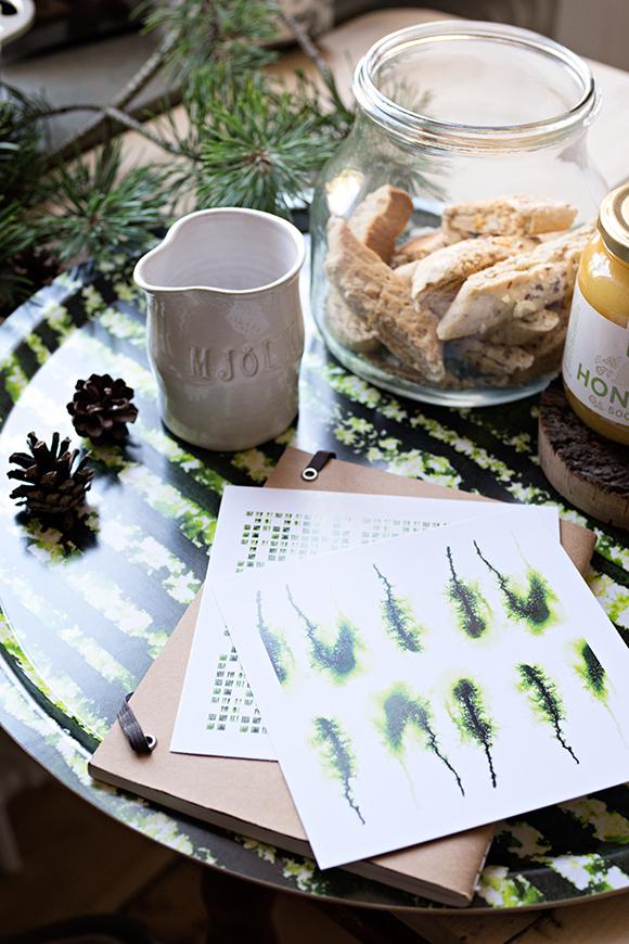 Frukost och vykort på grön Flow-bricka_580px bred
